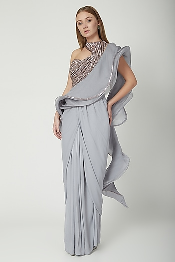 Grey Embroidered Ruffled Saree Gown Set by Gaurav Gupta