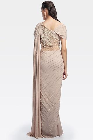 Light Toosh Draped Saree Gown With Pearls by Gaurav Gupta