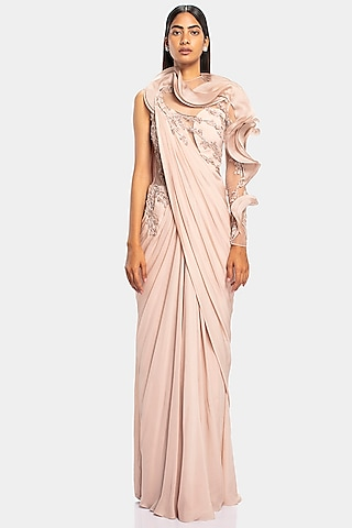Rose Champagne Embroidered Ruffled Saree Gown by Gaurav Gupta