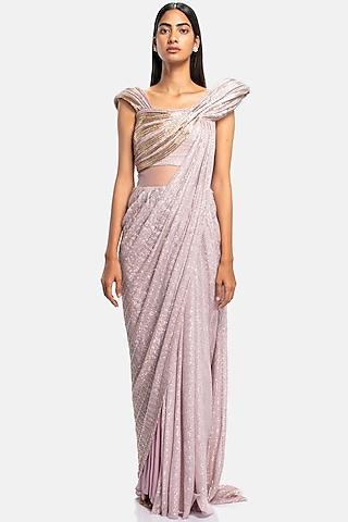 Pink Sculpted Saree Gown With Sequins Work by Gaurav Gupta