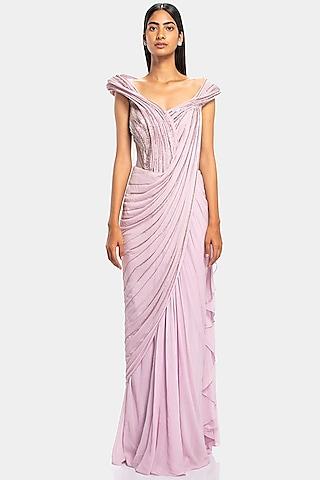 Blossom Pink Embroidered Saree Gown by Gaurav Gupta