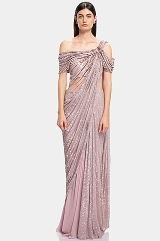 Pink Sequin Embroidered Saree Gown With Pre-Stitched Drape by Gaurav Gupta