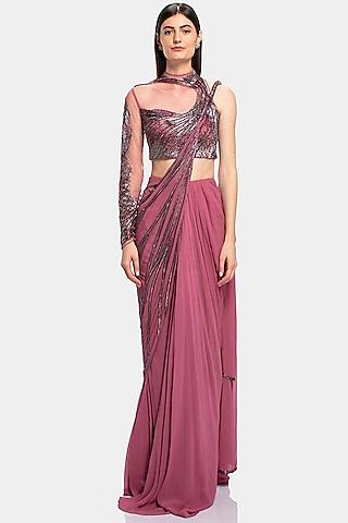 Soft Berry Embroidered Saree Set by Gaurav Gupta