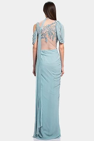 English Blue Embellished Saree Gown by Gaurav Gupta
