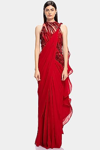 Red Embroidered Saree Gown by Gaurav Gupta