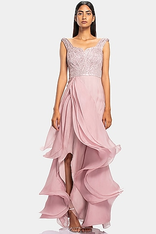 Pink Sculpted Gown With Sequins Work by Gaurav Gupta