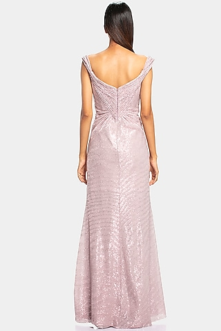 Pink Cocktail Pleated Gown With Sequins Work by Gaurav Gupta