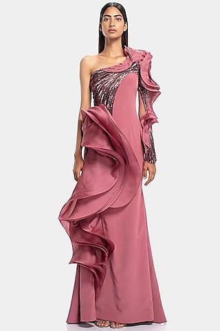 Soft Berry Pink Embellished One Shoulder Gown by Gaurav Gupta