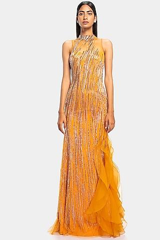 Sunset Yellow Embroidered & Ruffled Gown by Gaurav Gupta