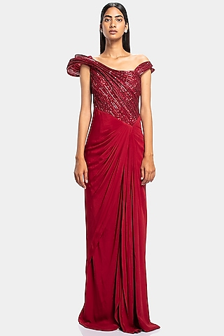 Red Embroidered Sculpted Gown by Gaurav Gupta