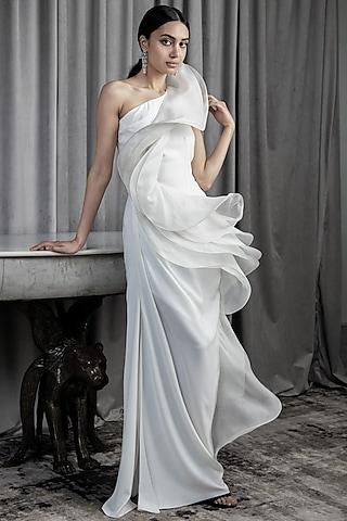 Ivory Ruffled One Shoulder Gown by Gaurav Gupta