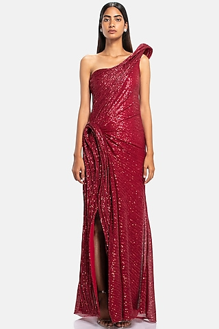 Red Sculpted One Shoulder Gown With Sequins Work by Gaurav Gupta