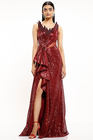 Berry Red Embroidered Knotted Gown by Gaurav Gupta