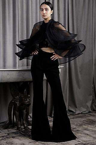 Black Embellished Pant Set With Cape by Gaurav Gupta