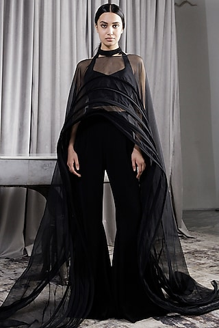 Black High-Waisted Flared Pant Set by Gaurav Gupta