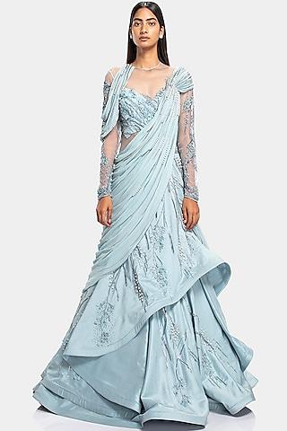 English Blue Embroidered Lehenga Saree by Gaurav Gupta