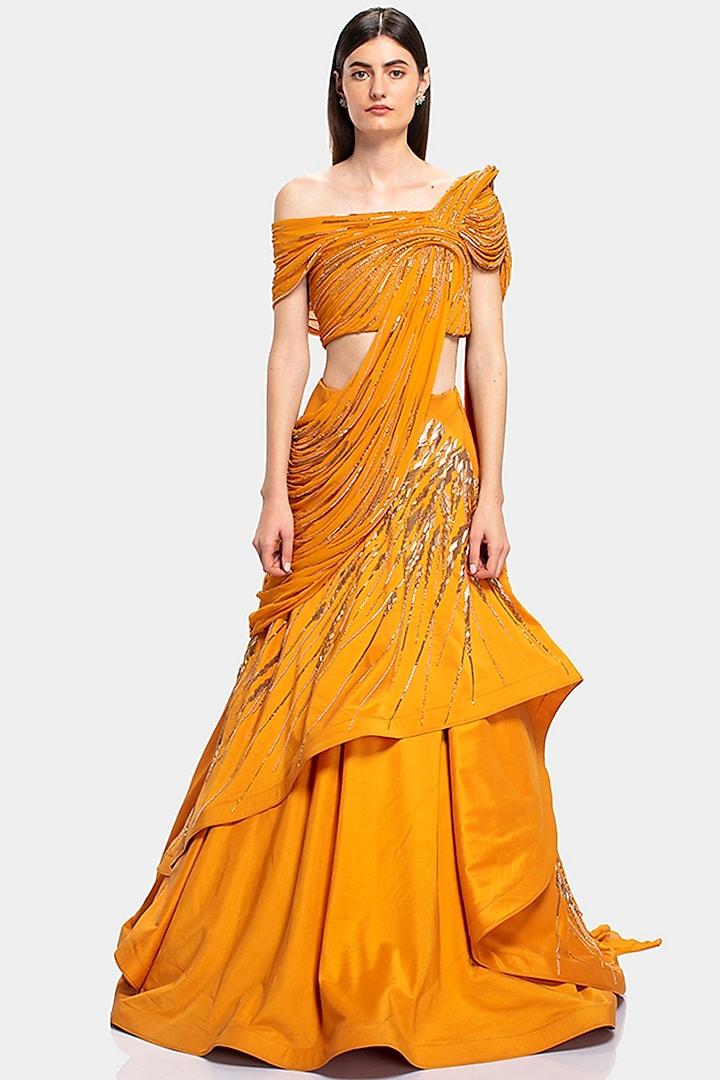 Yellow Embroidered Lehenga Saree by Gaurav Gupta