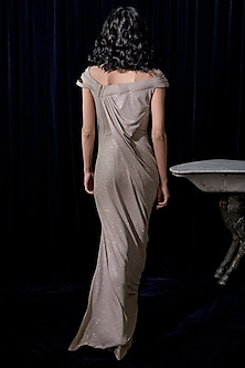 Champagne Draped Cocktail Gown by Gaurav Gupta