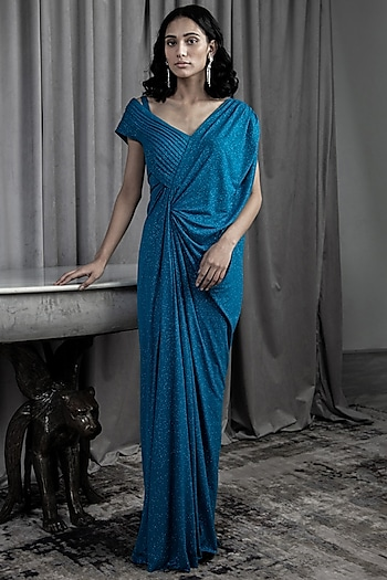 Teal Twisted Draped Gown by Gaurav Gupta