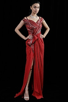 Lava Red Viscose Gown by Gaurav Gupta
