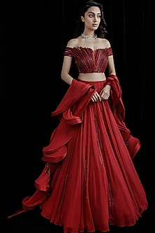 Lava Red Panelled Lehenga Saree Set by Gaurav Gupta