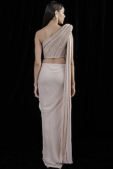 Nude Pink Draped Saree Gown by Gaurav Gupta
