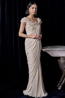 Pearl White Embroidered Saree Gown by Gaurav Gupta