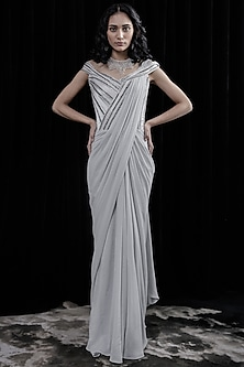 Pearl Silver Embroidered Saree Gown by Gaurav Gupta