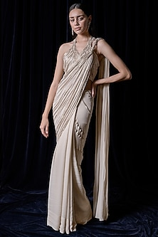 Champagne Embroidered Draped Saree Set by Gaurav Gupta