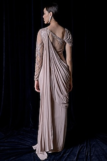 Light Toosh Draped Saree Gown by Gaurav Gupta