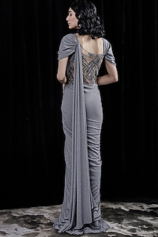 Grey Embroidered Saree Gown by Gaurav Gupta