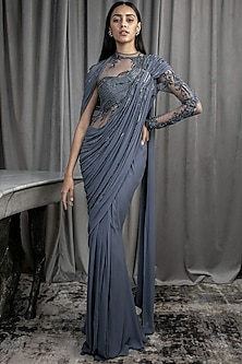 Lava Grey Embroidered Saree Gown by Gaurav Gupta