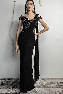 Black Embroidered Saree Gown Set by Gaurav Gupta
