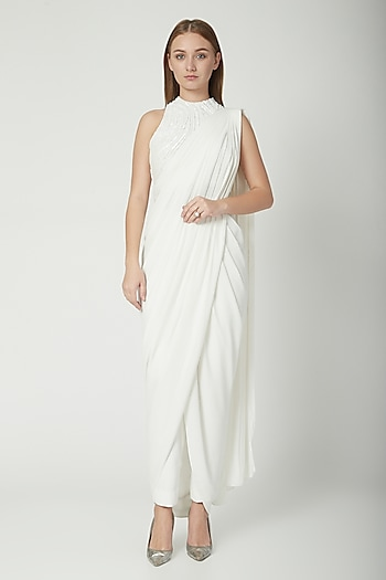 White Embellished Draped Pant Saree Set by Gaurav Gupta