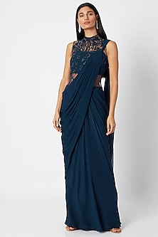 Midnight Blue Embroidered Saree Gown by Gaurav Gupta