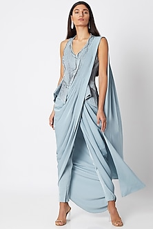 Dusk Grey Embroidered & Draped Saree Gown With Pants by Gaurav Gupta