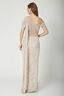 Beige Embroidered Draped Saree Gown by Gaurav Gupta