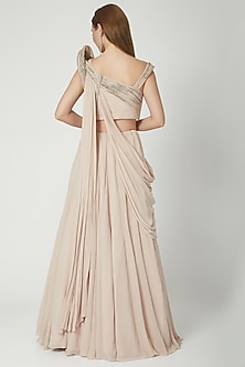 Blush Pink Lehenga Saree Set by Gaurav Gupta