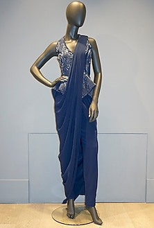 Midnight Blue Pant Saree Set by Gaurav Gupta