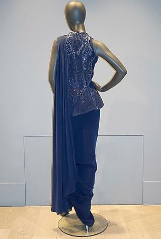 Midnight Blue Pant Saree Set by Gaurav Gupta