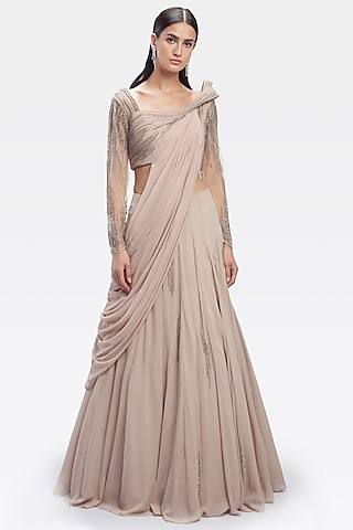 Pale Pink Embroidered Saree Lehenga Set by Gaurav Gupta