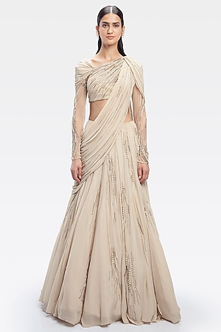 Champagne Embroidered Saree Lehenga Set by Gaurav Gupta