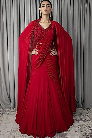Lava Red Embroidered Saree Lehenga Set by Gaurav Gupta