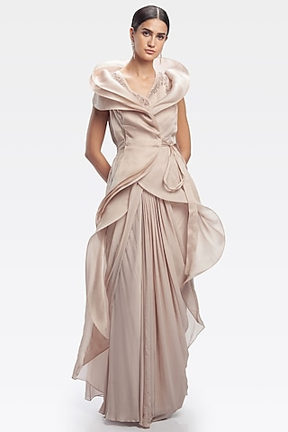 Light Toosh Saree Gown With Belt by Gaurav Gupta