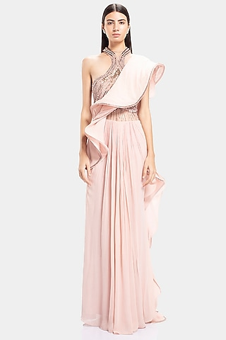 Petal Pink Embroidered Saree Gown by Gaurav Gupta
