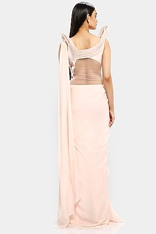 Cloud Pink Saree Gown With Dramatic Shoulders by Gaurav Gupta