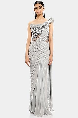 Silver Embroidered Saree Gown by Gaurav Gupta
