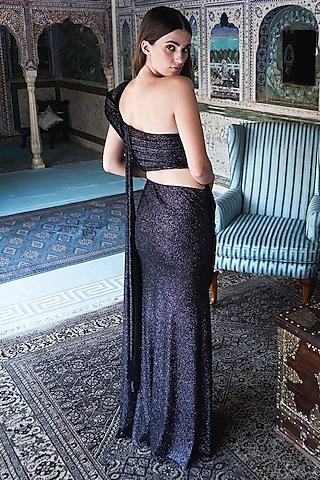 Black Jersey Saree Gown by Gaurav Gupta