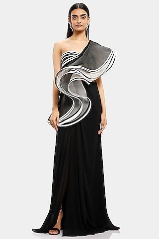 Black & White Ruffled Saree  by Gaurav Gupta