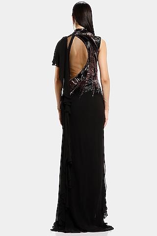 Black Embroidered Draped Saree Gown by Gaurav Gupta